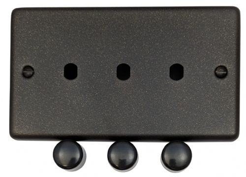 G&H CG13-PK Standard Plate Graphite 3 Gang Dimmer Plate Only inc Dimmer Knobs